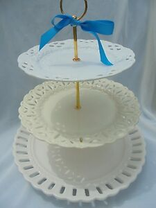 Image is loading PIERCED-PLATE-WEDDING-Cake-Stand-3-Tier-Serving- & PIERCED PLATE WEDDING Cake Stand 3 Tier Serving tray Jumbo Plate ...