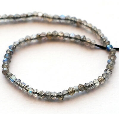 2-3mm x 2-3mm Faceted Natural Gray Blue Labradorite Rondelle Beads 13 Strand Holiday Special ~ 140 Beads