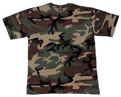 Devoto Us Woodland Mimetico Army Short Sleeve Camica Shirt Tshirt Large-mostra Il Titolo Originale Vendite Economiche 50%