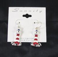 Lighthouse Fashion Dangle Earrings Silver Tone Red White 1 Inch Boating Seashore