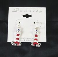 Lighthouse Fashion Dangle Earrings Silver Tone Red White 1 Inch Boating Seashore