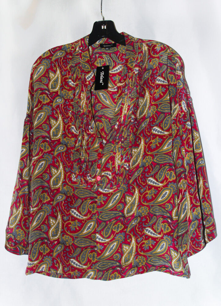 NWT TOLANI Hollywood Star Kimberly Paisley Print 100% Silk Tunic Top Blouse