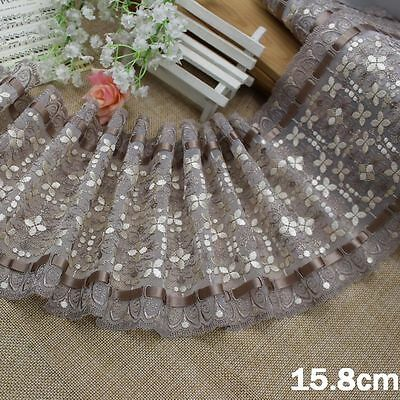 """6""""*1Y Embroidered Tulle Lace+Tan Ribbon~Taupe+Ivory~Wish of Daisy~Attractive~"""