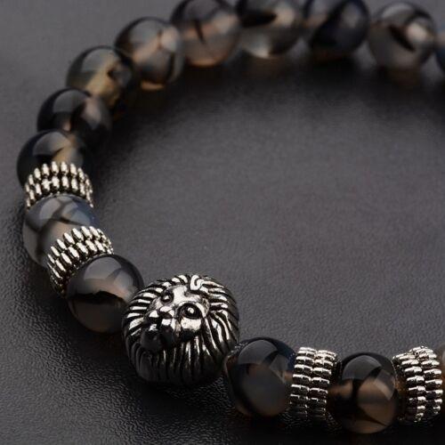 2018 Charm Hommes Silver Lion Head 8 mm Dragon vein agate perles hommes bracelets à breloques