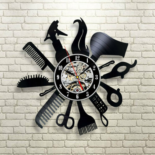 Hairdresser gift Wall clock made of vinyl record Beauty salon decor Hair salon w
