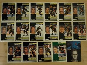 1991-92-Pinnacle-French-VANCOUVER-CANUCKS-Team-Set-17-Cards-BURE-LINDEN