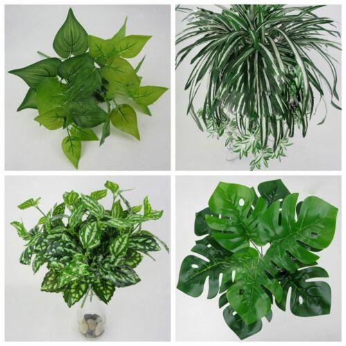 Home Wedding Decor Office Fake Leaf Green Grass Foliage Bush Artificial Plant