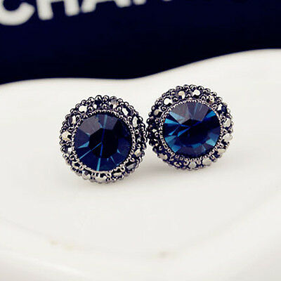 Fashion Blue Crystal Charm Round Ear Studs Earrings Girl Party Jewelry New