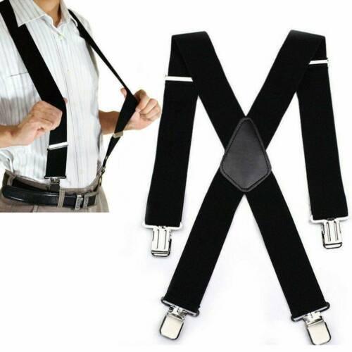 Heavy Duty Elastic Leather Button Braces Mens Trouser Belt Suspender Adjustable