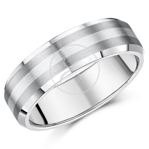 Titanium Ring and Silver 5mm 7mm Bevelled Edge Wedding Band