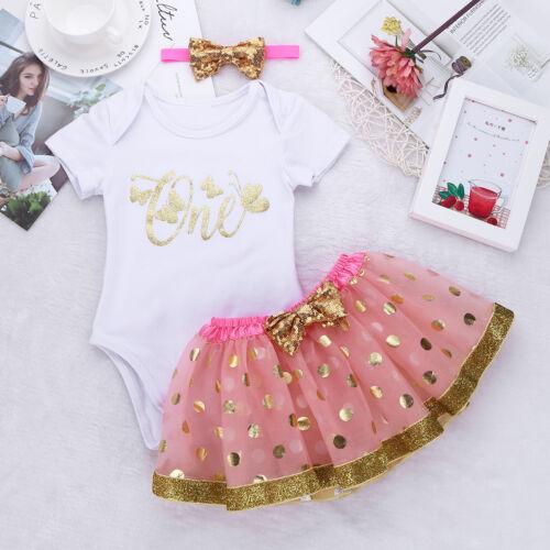 Baby Girls 1st First Birthday Dress Tutu Skirt Headband Cake Party Outfits Sets