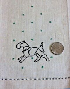 "Embroidery Professional Sale Vintage Never Used Linen Embroidered Dog Hand Towel C1930s-1940s~20""lx14""w"