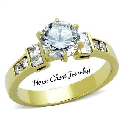 WOMEN'S GOLD TONE STAINLESS STEEL 1.25 CT BRIDAL CZ ENGAGEMENT RING SIZE 7, 8