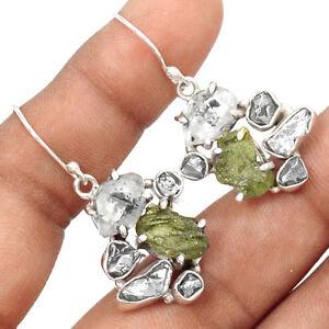 Moldavite-amp-Herkimer-Diamond-925-Sterling-Silver-Earrings-Jewelry-EE171595