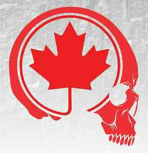 Skull Maple Leaf Vinyl Decal Sticker Canadian Flag Car Truck X - Vinyl decal stickers canada