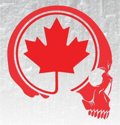 Skull Maple Leaf Vinyl Decal Sticker Canadian Flag Car Truck 4X4 Bones Skeleton