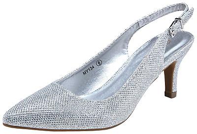 Vostey Women Low Heel Dress Shoes Kitten Heel Slingback Pumps 8 5 Silver Glitter Ebay
