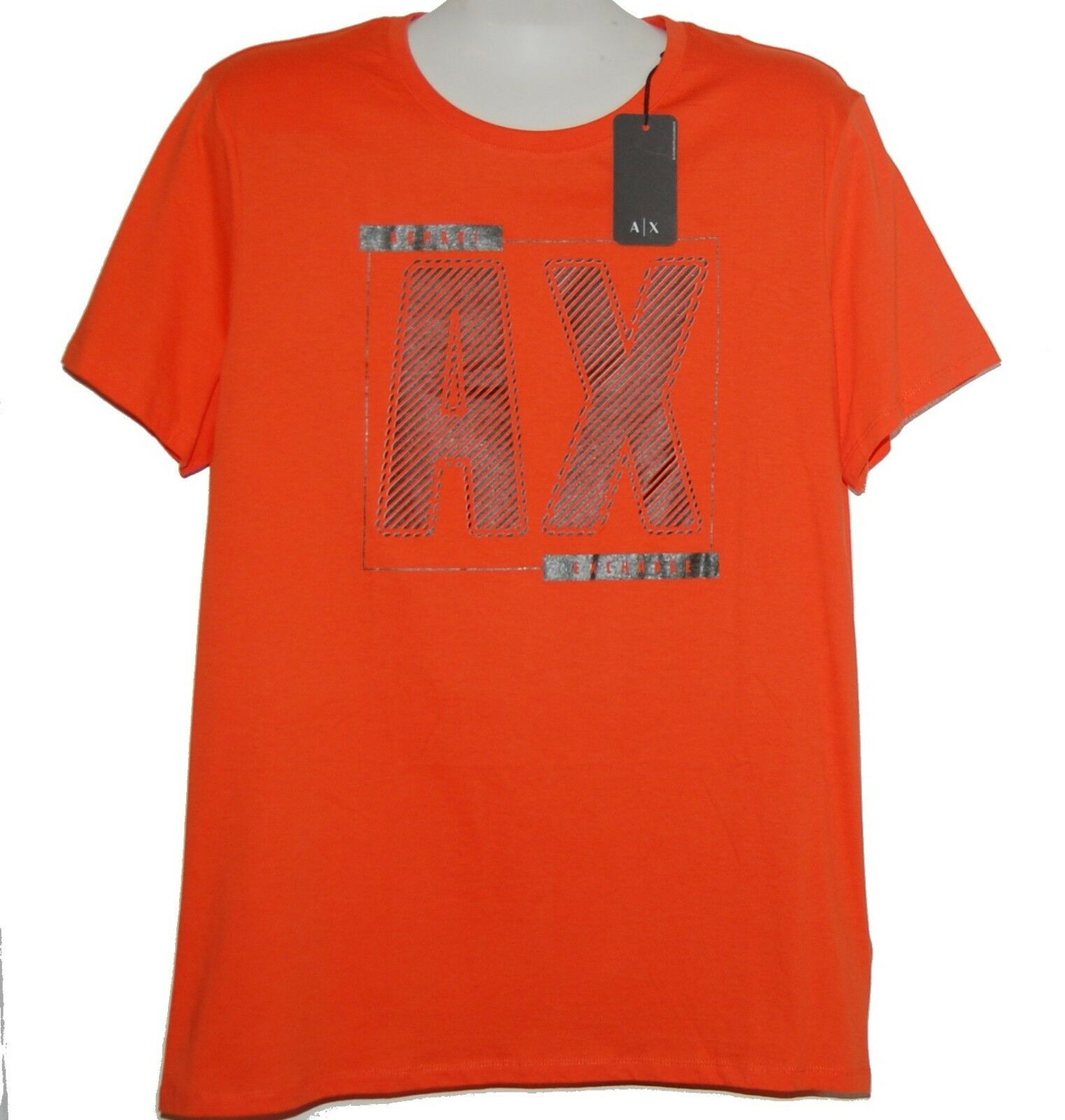 Armani Exchange orange Logo Cotton Short Sleeve Men's T-Shirt Size 2XL NEW