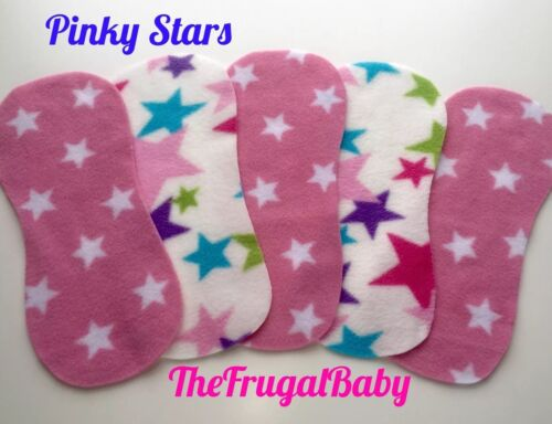 Fleece Reusable NEWBORN Shaped Nappy Liners New x10 Pinky Stars ⭐️