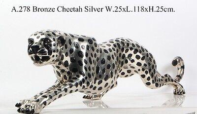 Silver jaguar figure Cast polished aluminium stalking jaguar Big Cat Cheetah