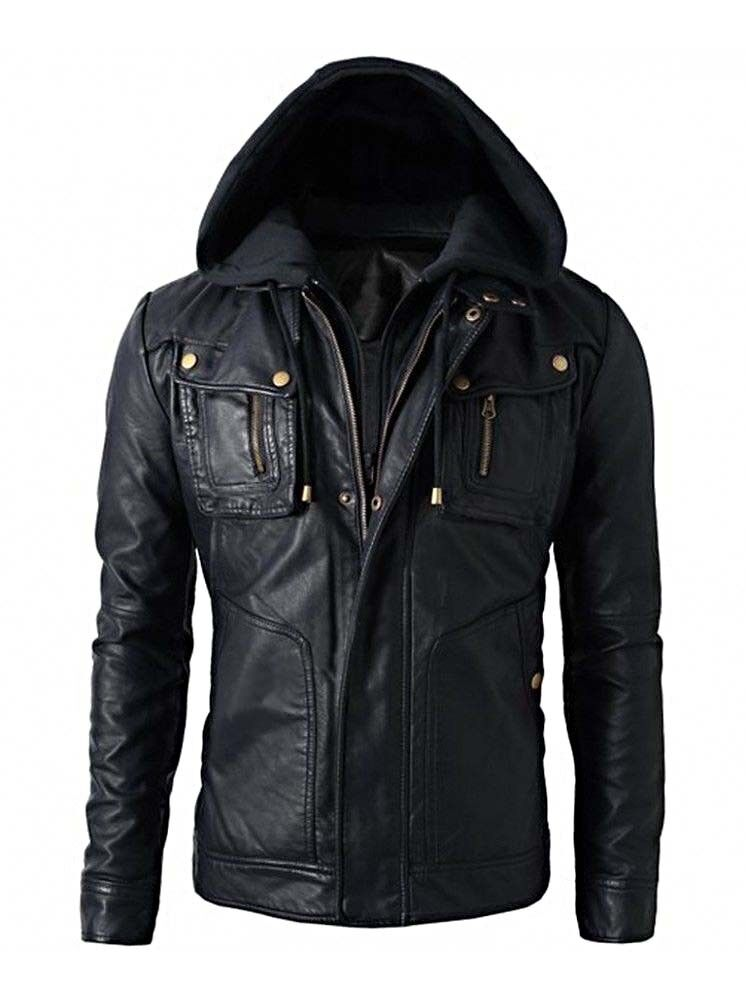 Mens Motorcycle Brando Style Biker Real Hooded Leather Hoodie Jacket - B8