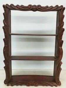 Image Is Loading Vintage Chinese Red Carved Wood Wall Hanging Cabinet