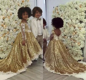 195eb19c52f Blingbling Gold Sequins Kids Flower Girl Dresses TUTU Lace Appliques ...