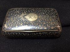 Antique Neillo Sterling Silver Monogrammed PR Snuff Trinket Pill Box By MS FS