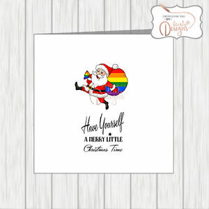 LGBT Gay Pride Lesbienne Carte De Noël Père Noël avec arc en Sack