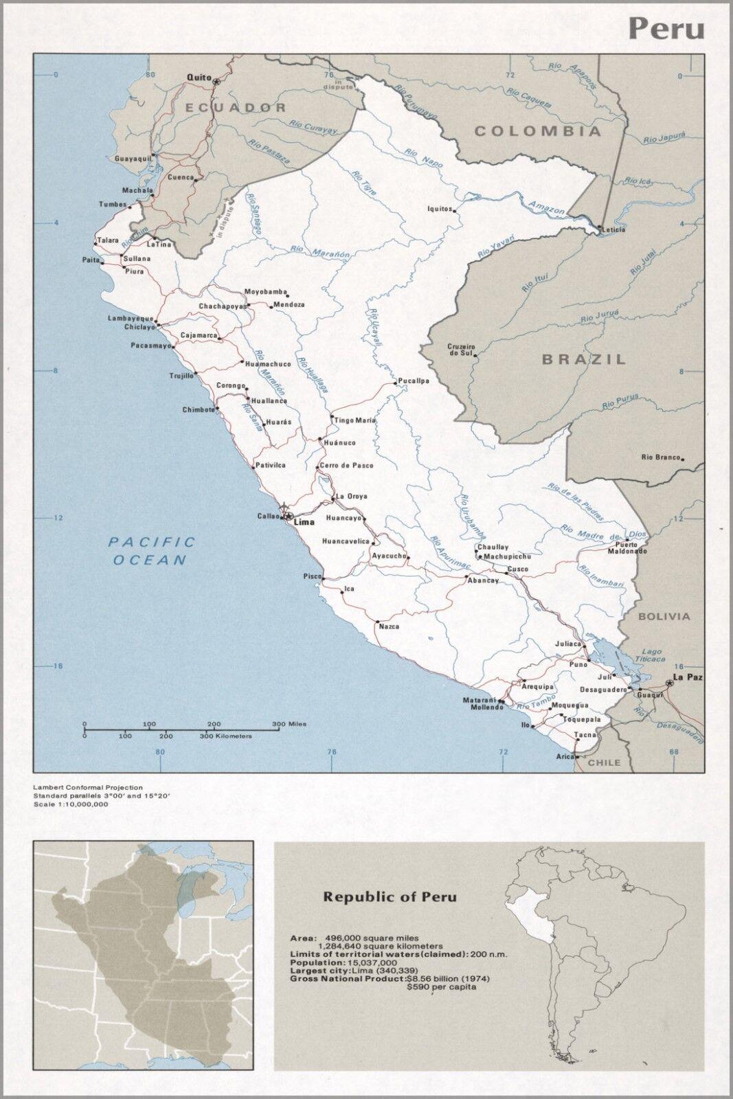 Poster, Many Größes; Cia Map Of Peru 1976
