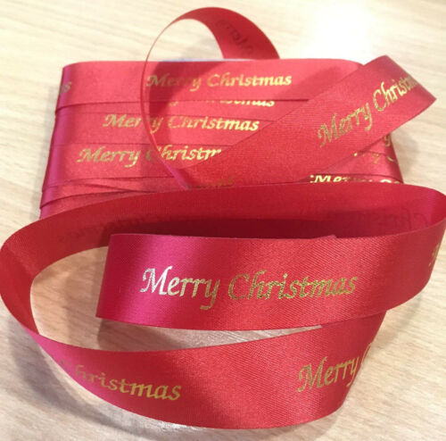 5 or 10 Metre length of Red Polyester Ribbon with Gold Merry Christmas 25mm wide