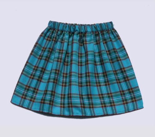 Easy Care Fabric Tartan Girls Elasticated Waist Skater Skirt Twelve Colours