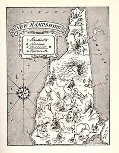 1950s Vintage NEW HAMPSHIRE Map Original Picture Map of New Hampshire BW 2341