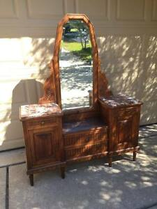 Antique French Country Vanity Dresser With Mirror And