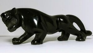 VINTAGE-STONE-BLACK-PANTHER-COUGAR-HANDMADE-STATUE-FIGURINE-8-034