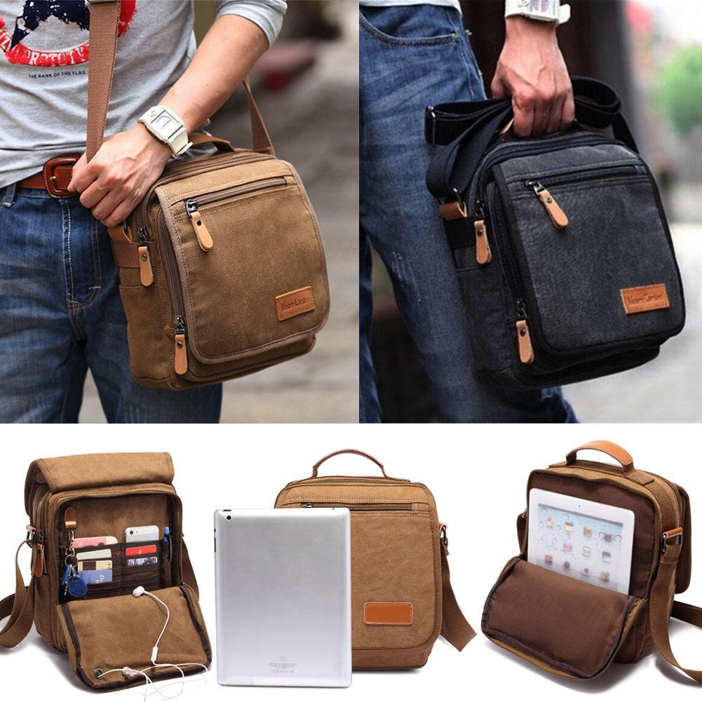 Men's Canvas Messenger Shoulder Bag Handbag Outdoor Travel Hiking Cros... - s l1600