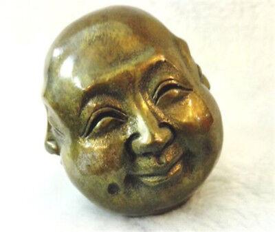 antique excellent Old tibet Silver 4 faces buddha head statue Figures 6cm