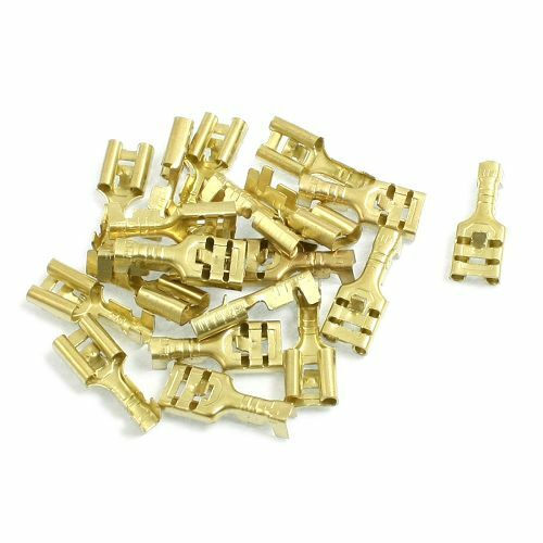 Pack 50 6.3mm Brass Female Spade Lucar Connectors For 0.5-1.0mm sq Cables