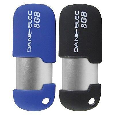 Dane Elec 8GB USB 2.0 Flash Drive Pack of 2 - Blue/Black (DA-Z08GCND2-C)