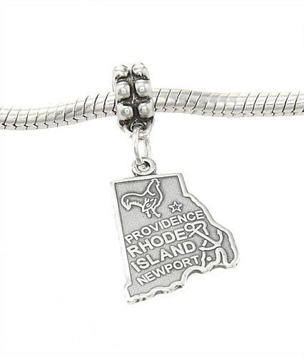 STERLING SILVER DANGLING STATE OF RHODE ISLAND EUROPEAN BEAD CHARM