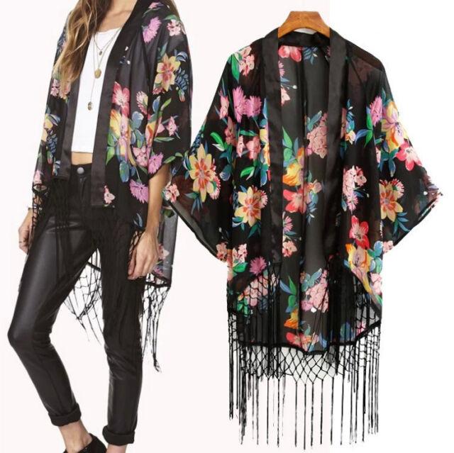 Vintage Retro Boho Hippie Casual Chiffon Top Kimono Coat Cape Blazer Jacket