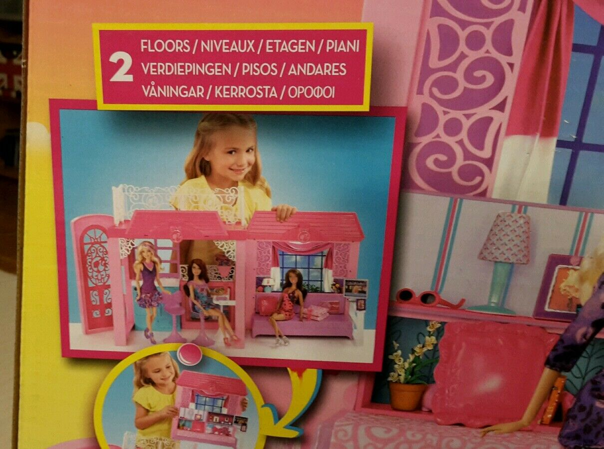 NEU  Geschenk  Puppenstube BARBIE Ferienhaus Puppenstube  PUPPENHAUS mit Möbeln ab 3 Jahre a10569