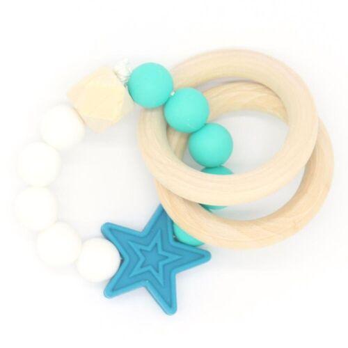 Baby Teether Infant Bracelets Silicone Wood Beads Teething Toy BPA Free Safe UK