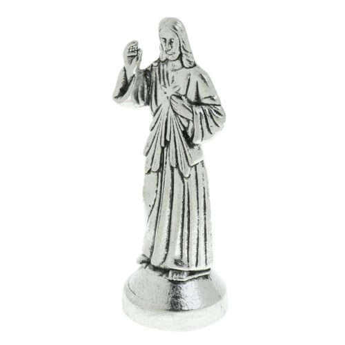Mini figurine Jésus en argent avec statue de fond magnétique à