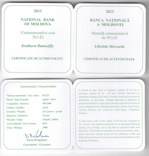 BOX COA MOLDOVA SILVER PROOF 50 LEI COIN 2013 YEAR RED BOOK DAMSELFLY