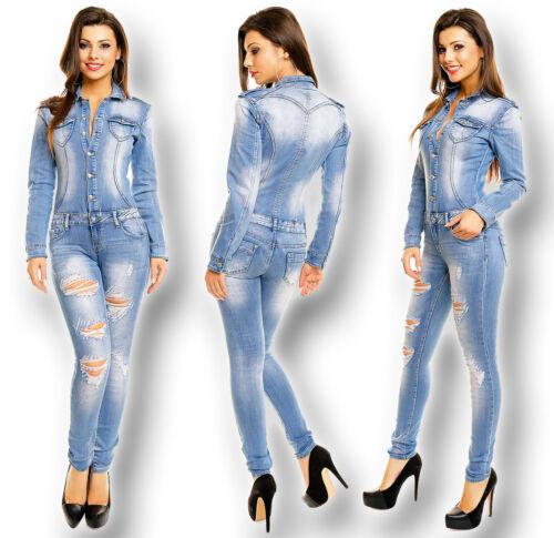 Jeans Denim Jumpsuit Destroyed Overall S-XL Hose Jacke Röhre Skinny Langarm 0015