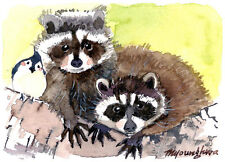 ACEO Limited Edition-Racoons and a Bird,Art print of an ACEO original watercolor