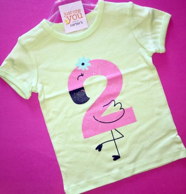 2nd Birthday Flamingo Baby Girls Shirt 3t Ss 2 Years Gift Carters