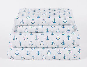 Nautical-Anchor-Twin-Full-Queen-or-King-Sheet-Set-Microfiber-Blue-White-Coastal