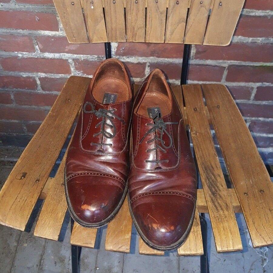 Bostonian Classics Mens Sz Red 11M Oxford Dress Shoe Red Sz Brown Leather Cap Toe 143-4 2efbf5